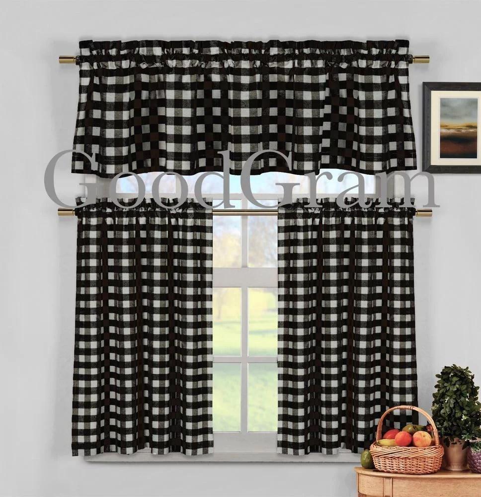 kitchen curtain outdoor patio ideas black white gingham checkered plaid tier valance walmart com
