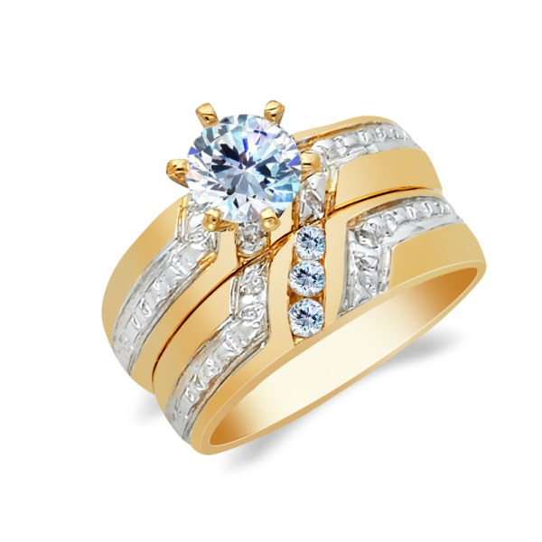 Ioka - 14k Two Tone Solid Gold 1 Ct. Cut Cubic