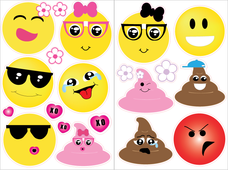 Emoji Wall Decals Stickers With Hearts And Flowers Emoji