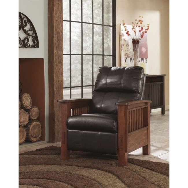 Ashley Furniture Santa Fe High Leg Faux Leather Recliner in Chocolate