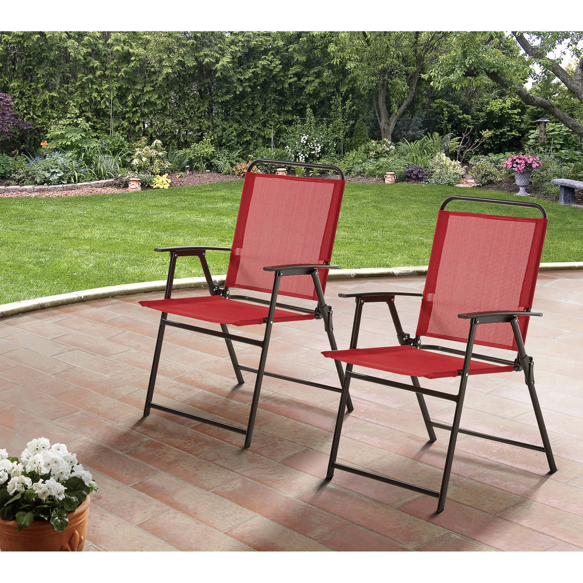 Woven Lawn Chair Mainstays Pleasant Grove Sling Folding Chair Set Of 2