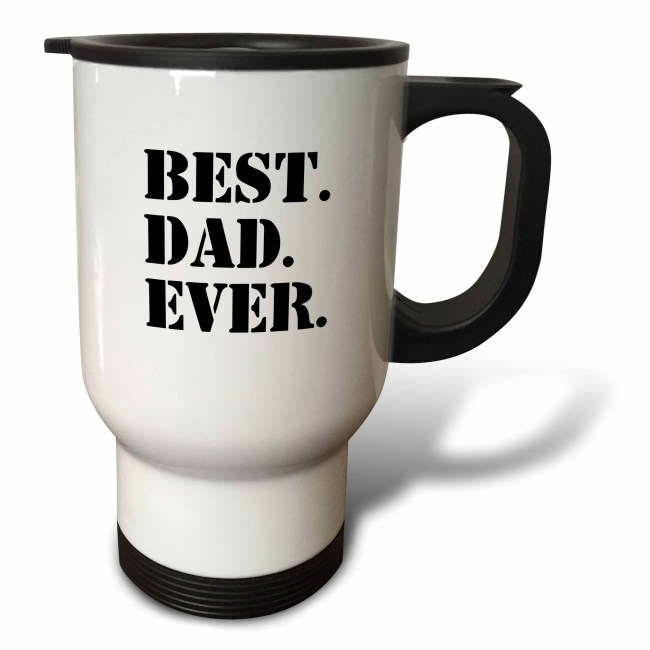 3dRose Best Dad Ever - Gifts for fathers - Good for Fathers day - black text, Travel Mug, 14oz, Stainless Steel