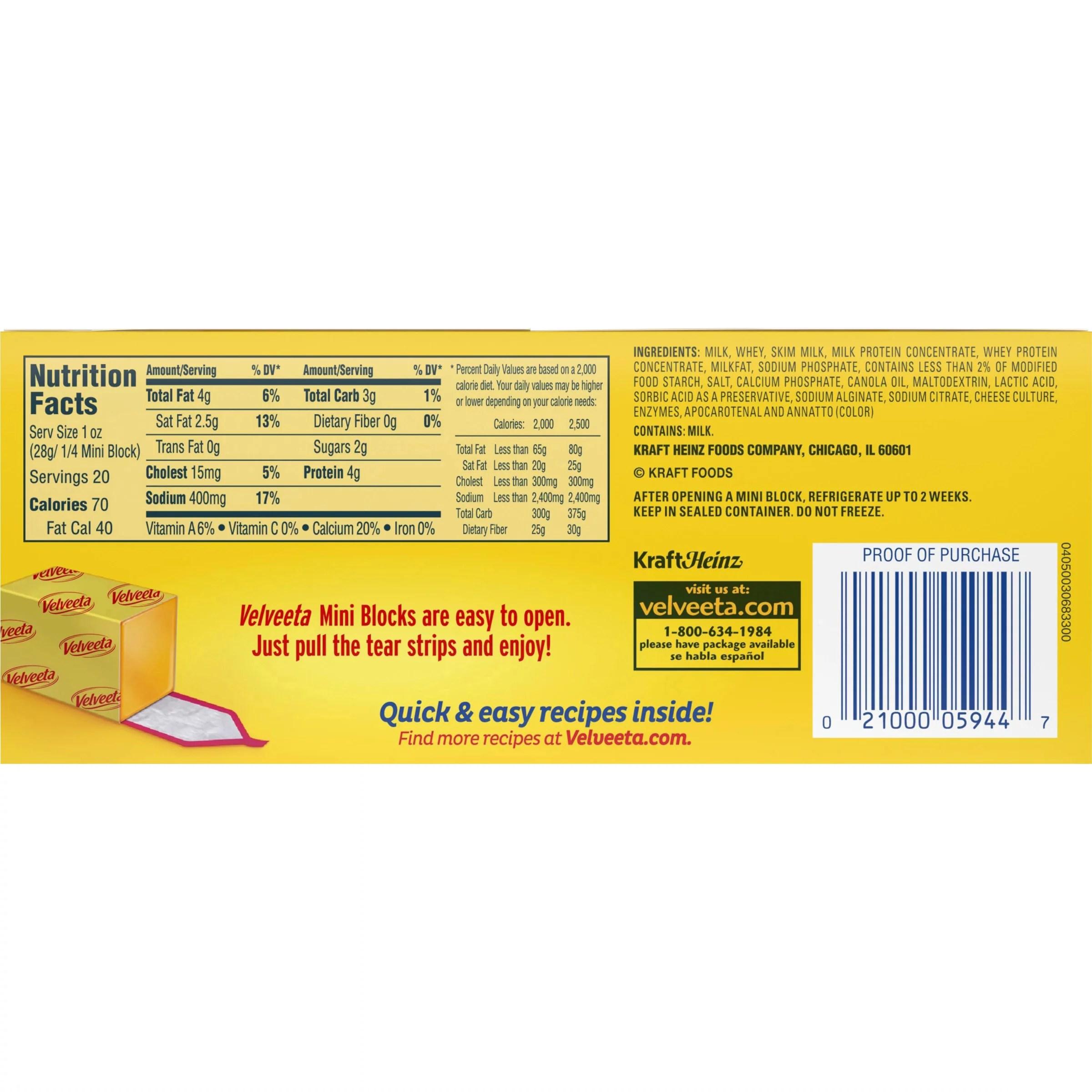 Velveeta Cheese Ingredients Label - Pensandpieces