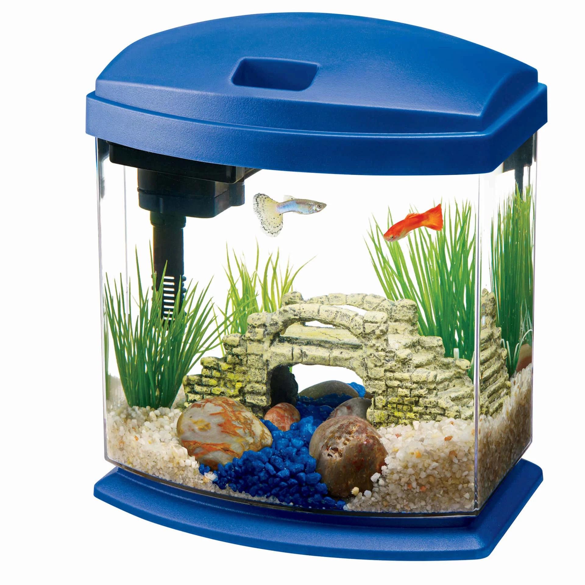 aqueon minibow aquarium led starter kit 1 gallon blue