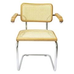 Marcel Breuer Cesca Chair With Armrests Zero Gravity Gander Mountain Cane Chrome Arm In Honey Oak Walmart Com