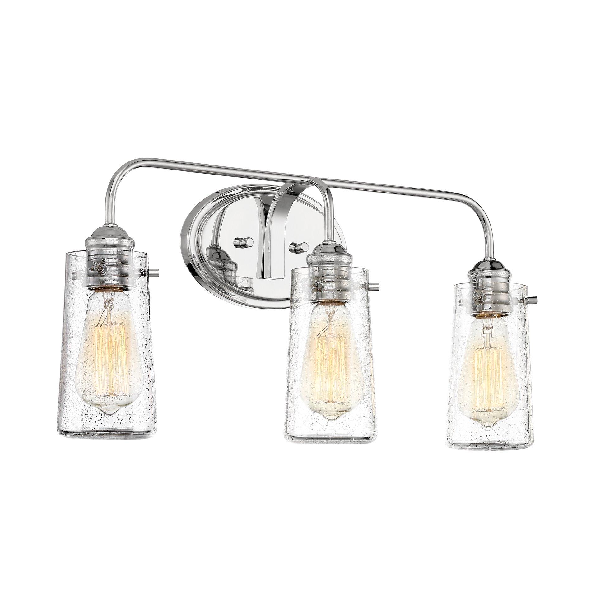 kira home rayne 22 5 modern farmhouse 3 light vanity bathroom light seeded glass shades chrome finish