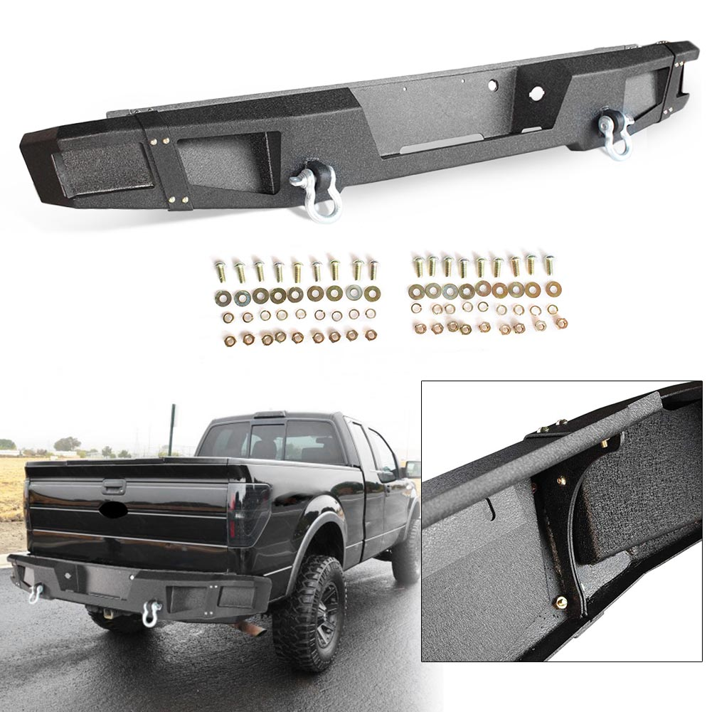 hight resolution of gzyf for ford f 150 2009 2014 step rear bumper textured black heavy duty bumper with d rings walmart com