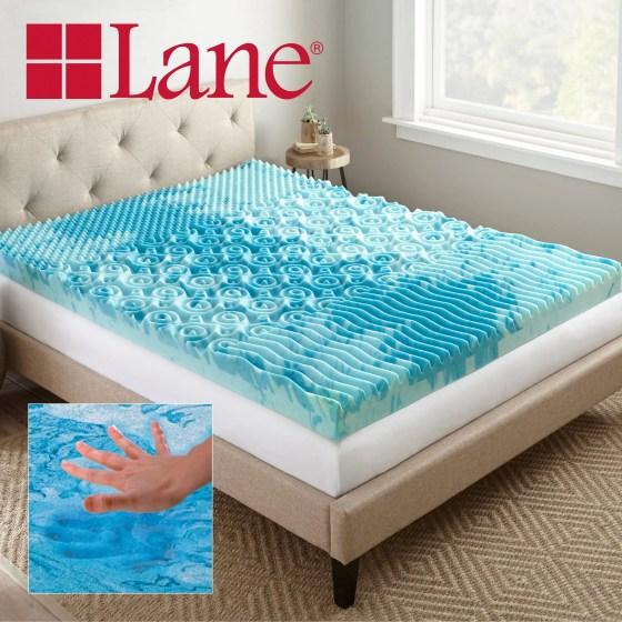 Lane 4 Cooling Gellux Memory Foam Gel Mattress Topper Multiple Sizes