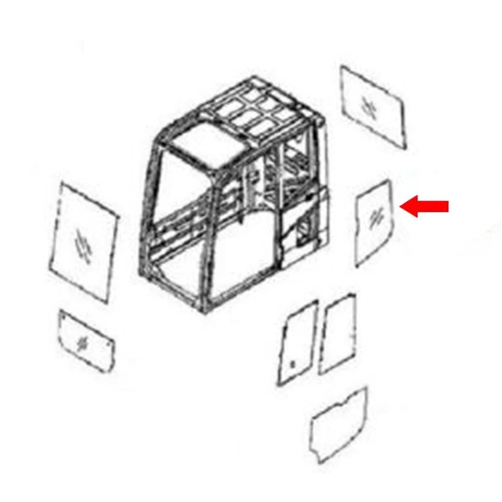 20Y-54-51241 Rear LH Side Glass Made For Komatsu Excavator