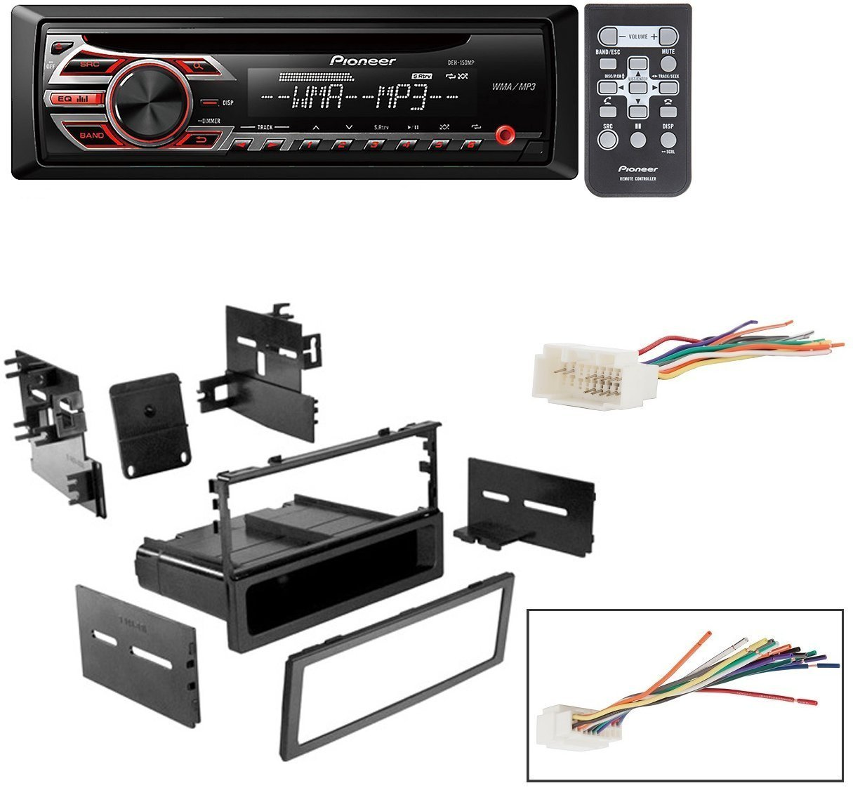 hight resolution of honda 1999 2000 civic car stereo dash install mounting kit wire harness with pioneer deh 150mp cd digital music player receivers walmart com