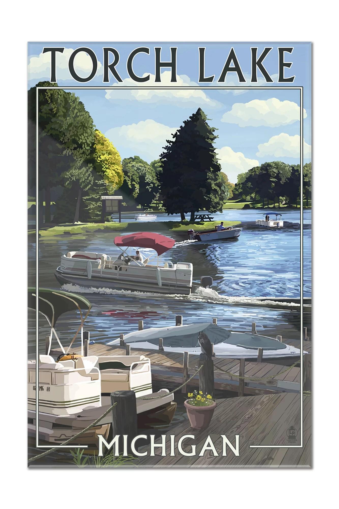 hight resolution of torch lake michigan pontoon boats lantern press poster 16x24 acrylic wall art gallery quality walmart com