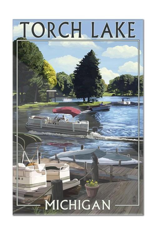 small resolution of torch lake michigan pontoon boats lantern press poster 16x24 acrylic wall art gallery quality walmart com
