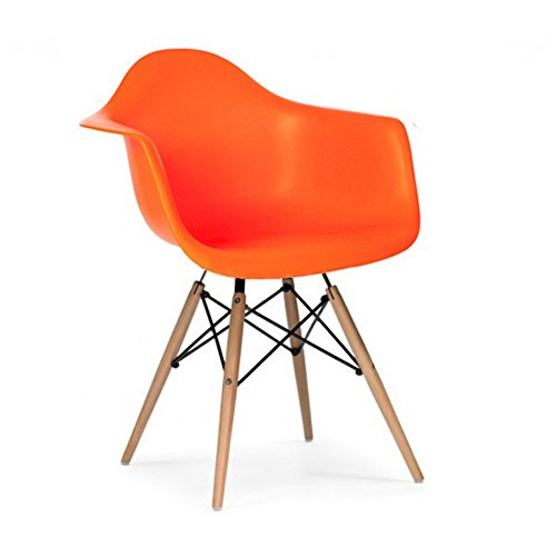 eiffel chair wood legs where can i rent a baby shower orange modern style armchair with natural dining room lounge arm