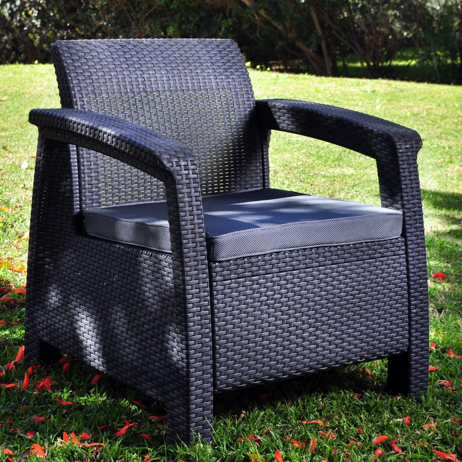 keter corfu resin wicker armchair outdoor all weather patio seat gray