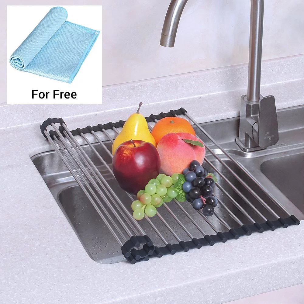 kitchen drying rack metal canisters nex over the sink silicone dish roll up drainer for mat nx d001 walmart com