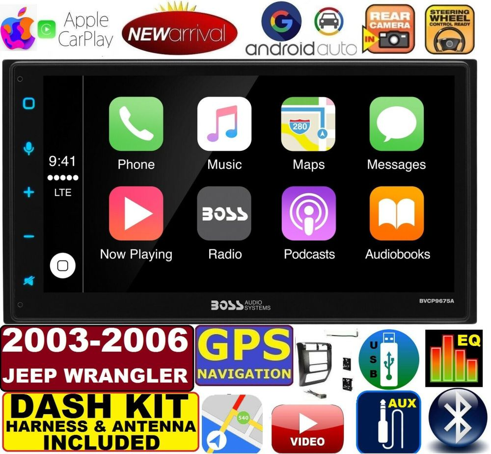 medium resolution of 03 06 jeep wrangler apple carplay navigation works with iphone am fm usb bluetooth car radio stereo pkg incl vehicle hardware dash kit wire harness
