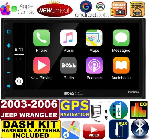 small resolution of 03 06 jeep wrangler apple carplay navigation works with iphone am fm usb bluetooth car radio stereo pkg incl vehicle hardware dash kit wire harness