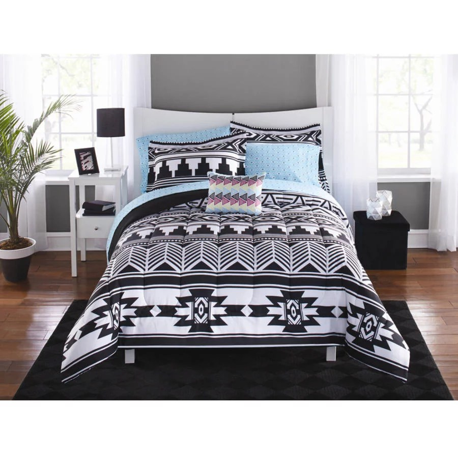 mainstays black white aztec bed in a bag coordinated bedding twin