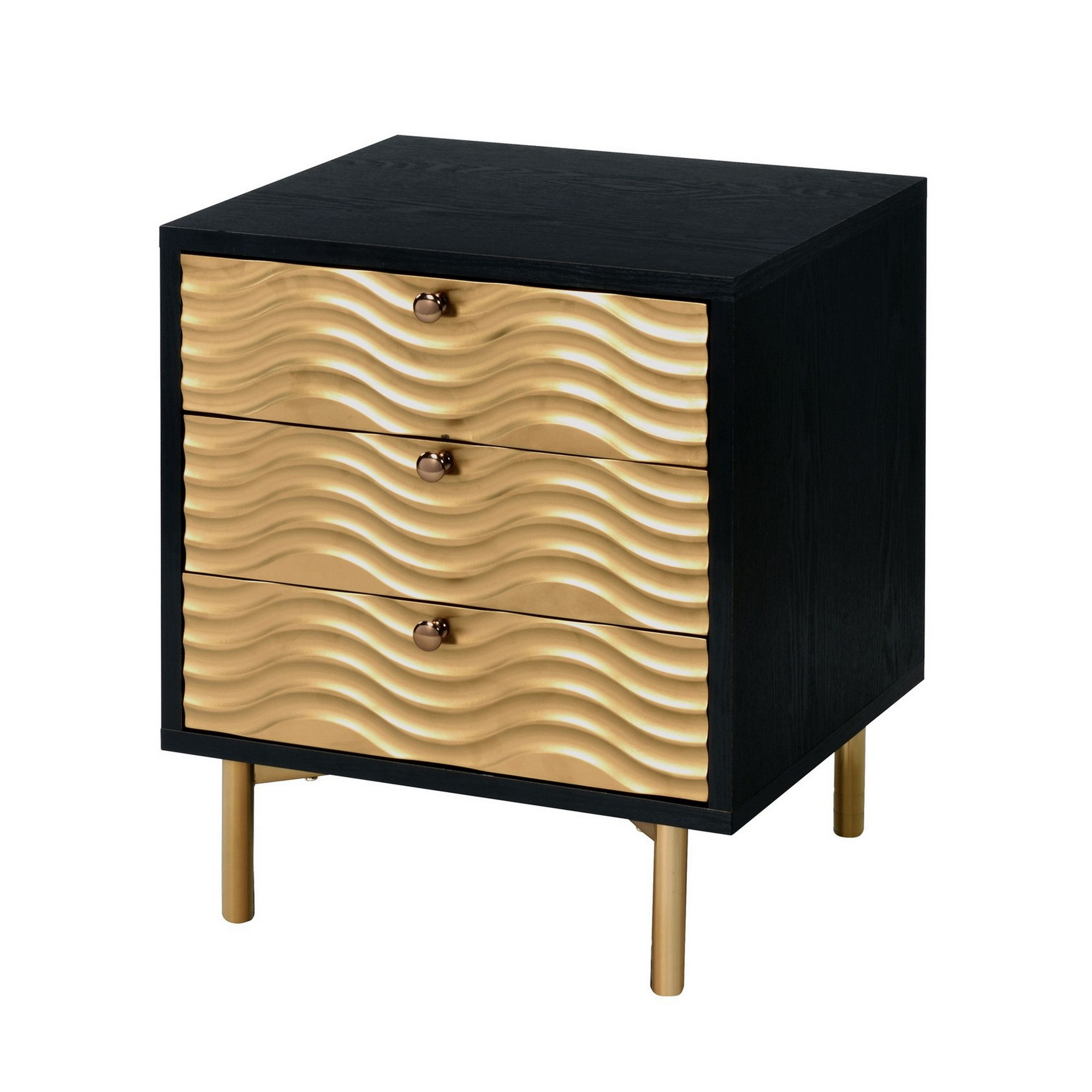3 drawer nightstand with waved recessed fronts black and gold