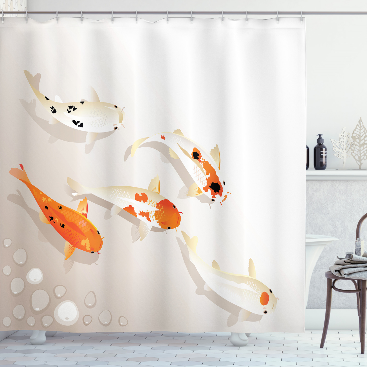 koi fish shower curtain traditional asian sacred spotty koi figures carps oriental sign of love zen fabric bathroom set with hooks orange beige by