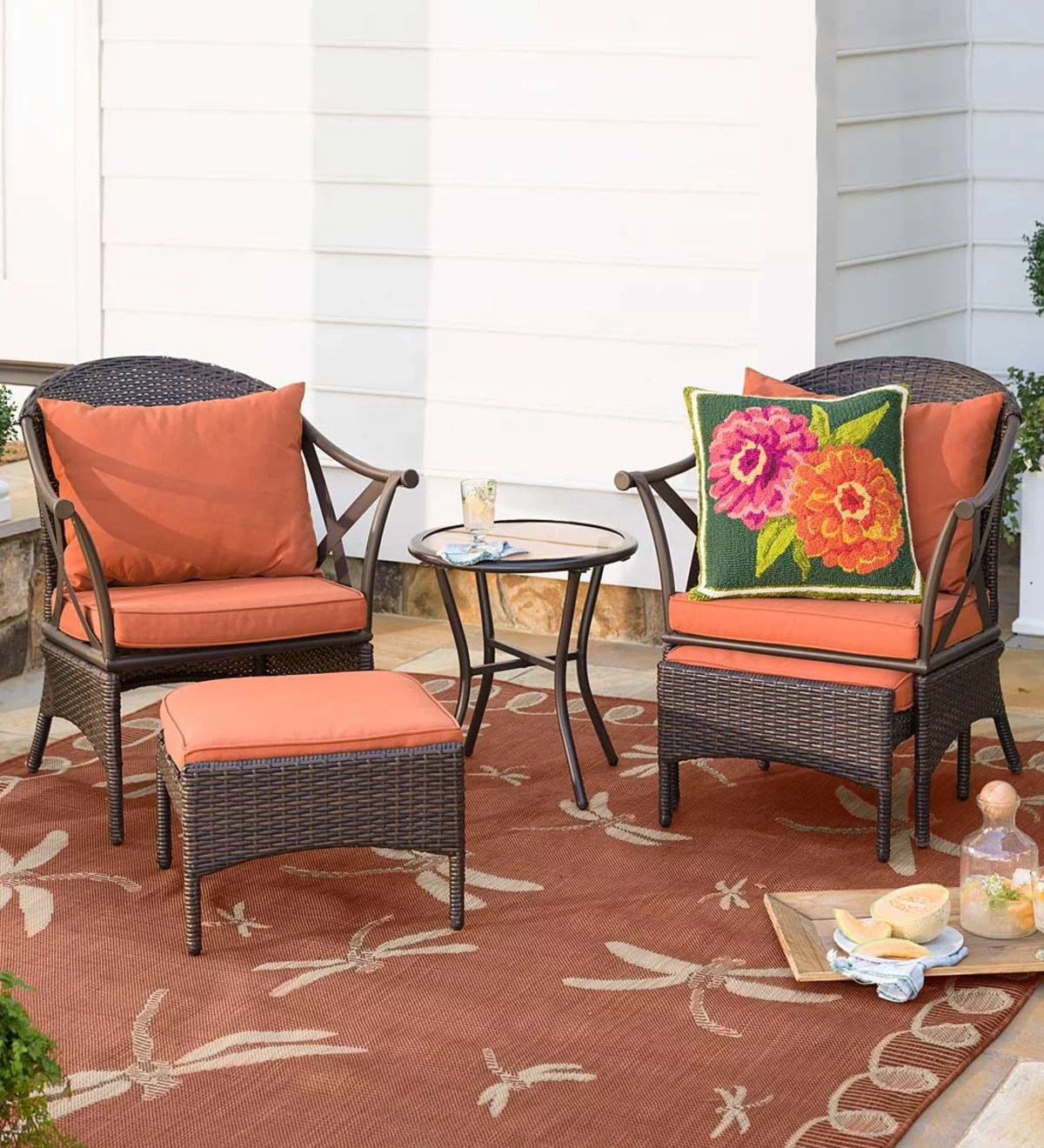 wicker patio 5 piece set with 2 chairs 2 ottomans side table cushions