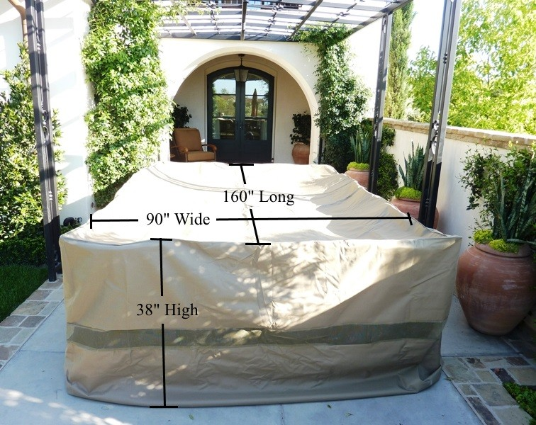 covered living ultra large patio set cover 160 lx90 w fits rectangular or oval table set center hole for umbrella walmart com