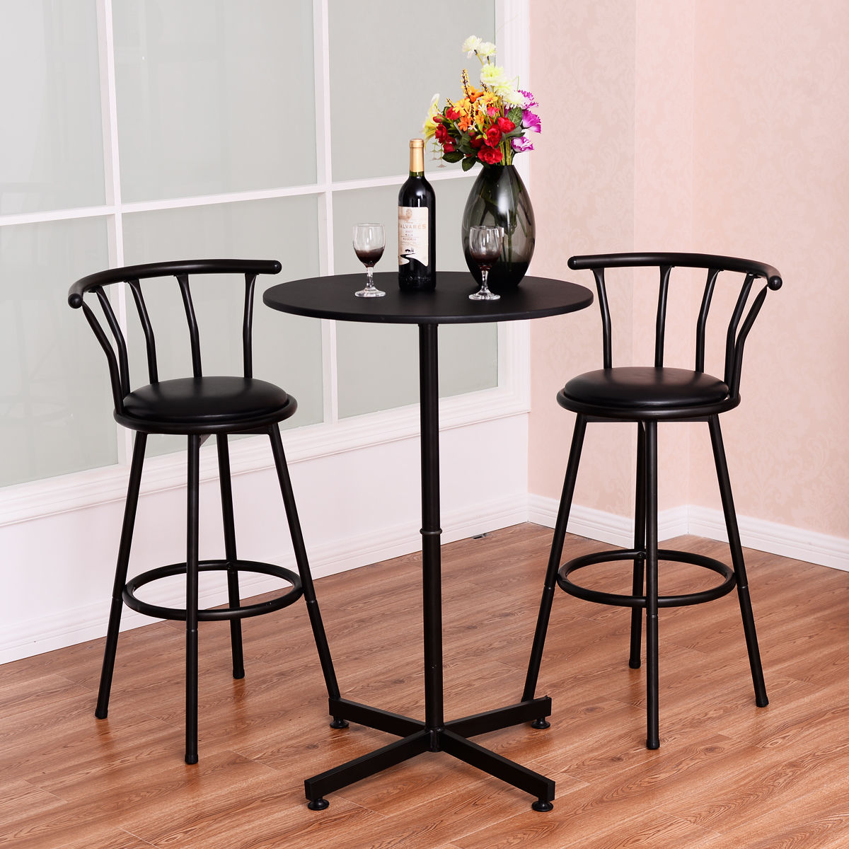 pub kitchen table best way to remove grease from cabinets 3 piece bar set w 2 stools bistro dining furniture black