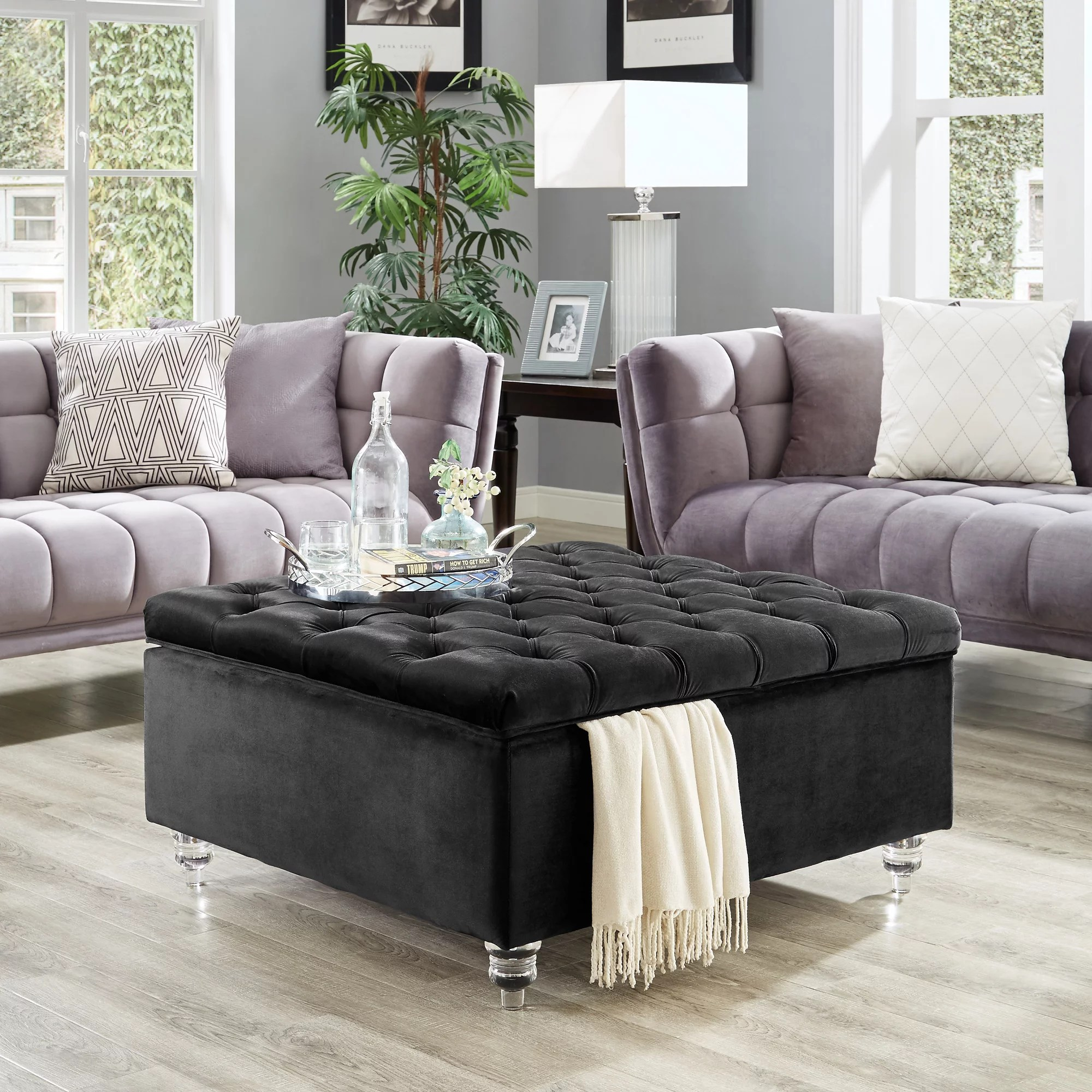 inspired home clarissa velvet storage ottoman cocktail coffee table square tufted black walmart com