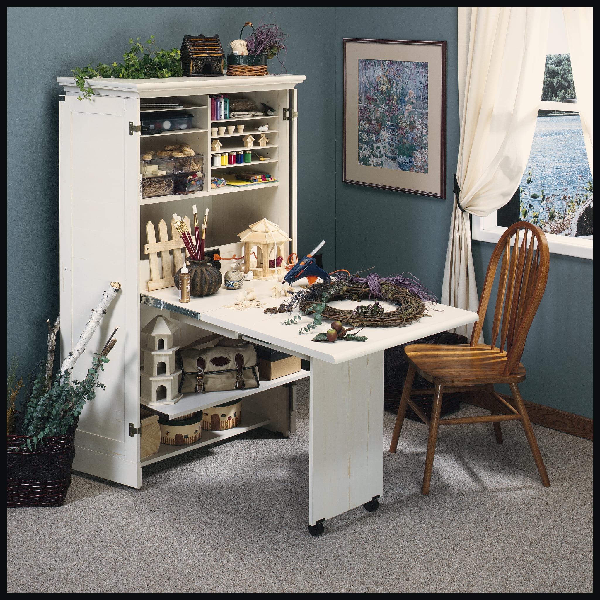 Sauder Harbor View Craft Armoire Antiqued White Finish Walmart Com Walmart Com