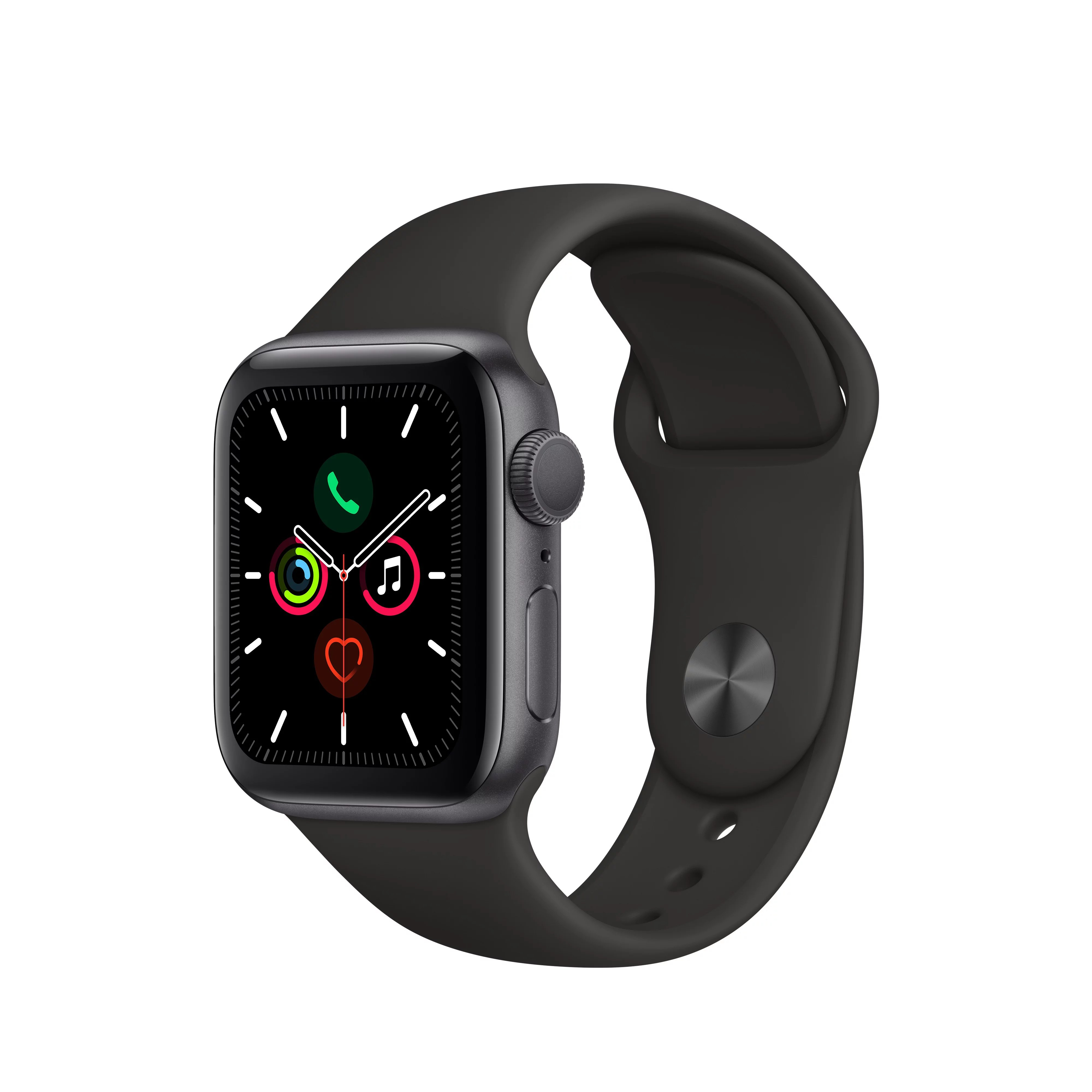 Apple Watch Series 5 GPS, 40mm Space Gray Aluminum Case with Black Sport Band – S/M & M/L