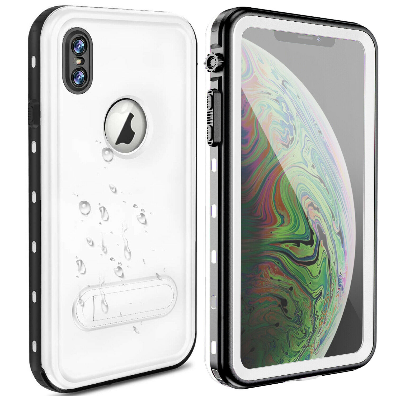 For iPhone X/XS Waterproof Case. Exgreem Built-in Screen Full-Body Protector with Floating Strap IP68 Waterproof Case for iPhone X/XS--White ...