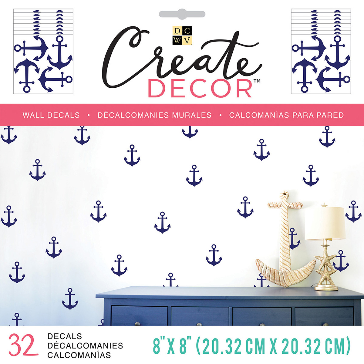 """DCWV Create Decor Removable Wall Decals 8""""X8"""""""