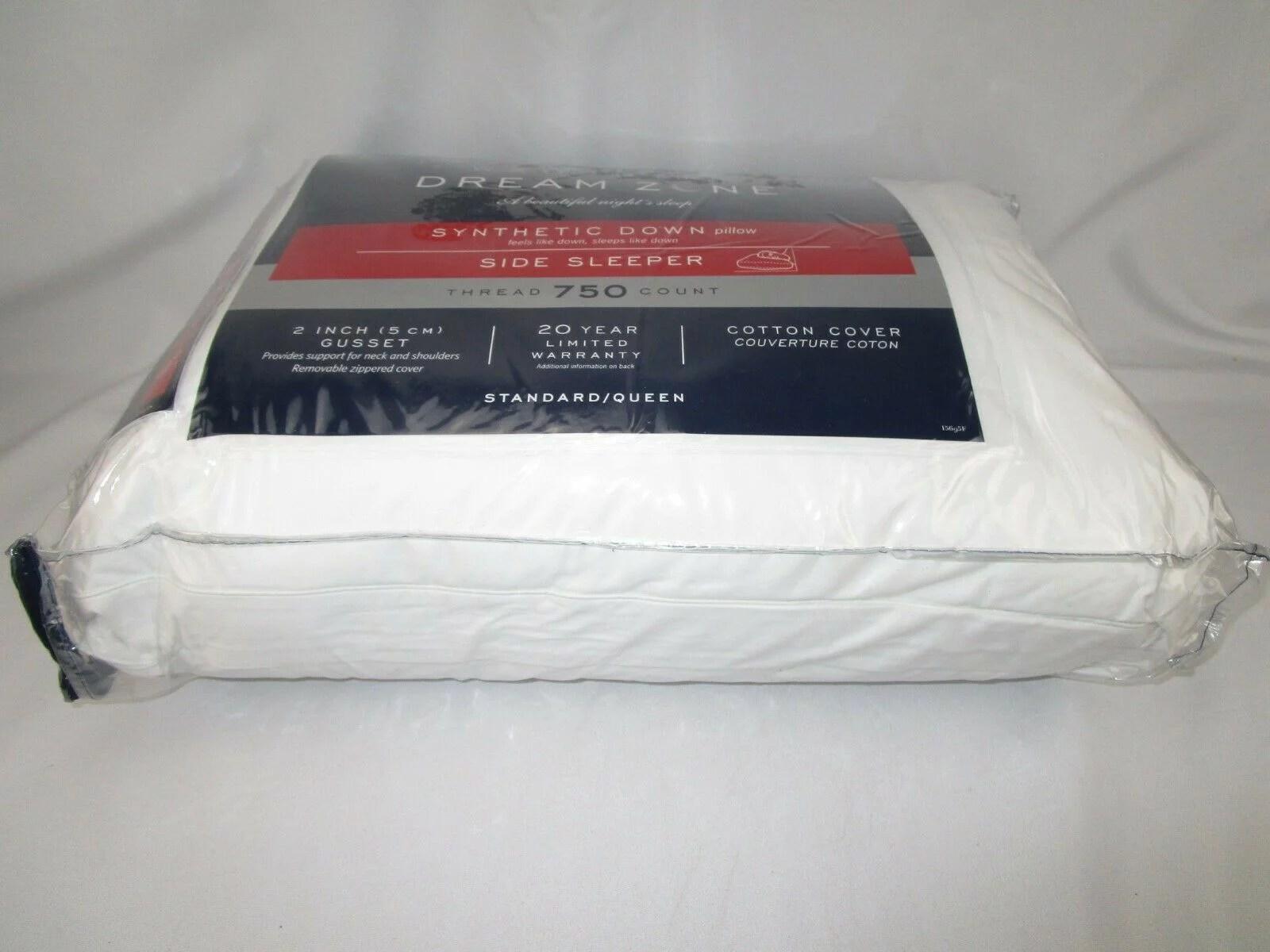 wamsutta dream zone synthetic down standard queen side sleeper pillow