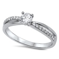 Women's Solitaire White CZ Promise Ring ( Sizes 5 6 7 8 9 ...