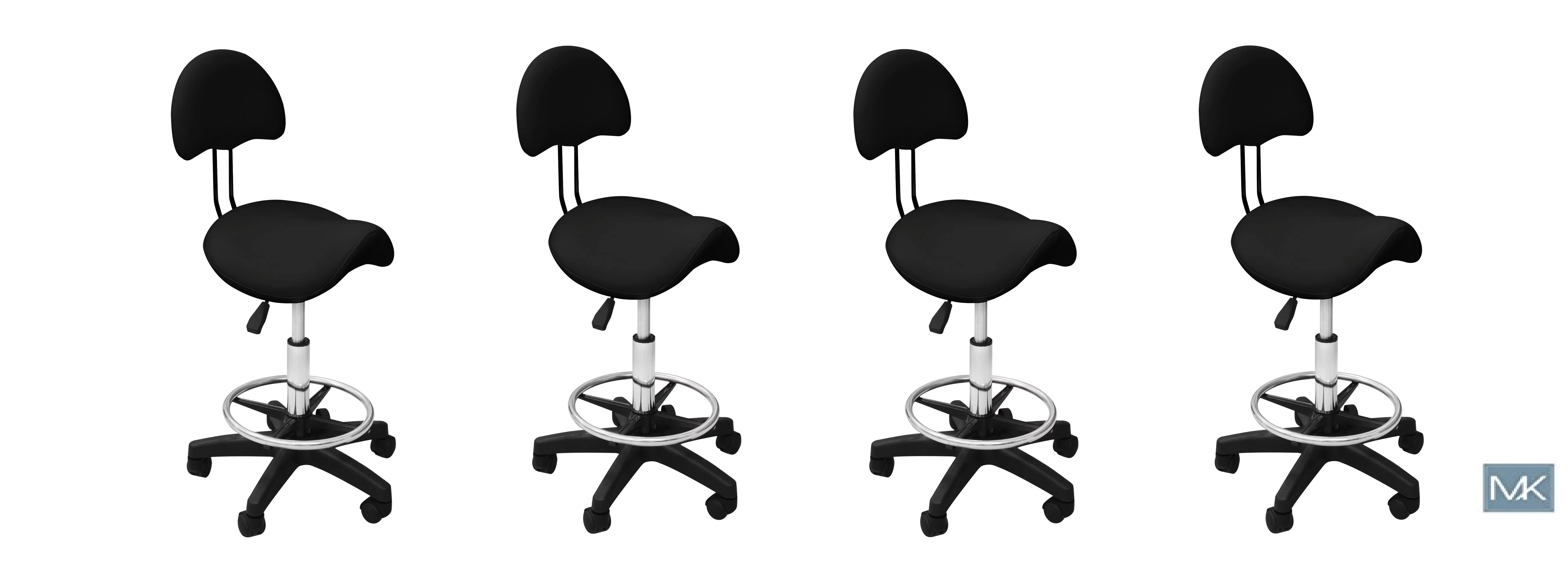 Set of 4 Esthetician Chair Technician Stool KELLY BLACK