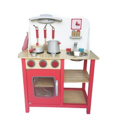 Kids Wooden Kitchen Peerless Faucet Repair Play Set For Girls Wood Toy Cooking Pretend Boys Red Gift Playset With Kitchenware Toddler