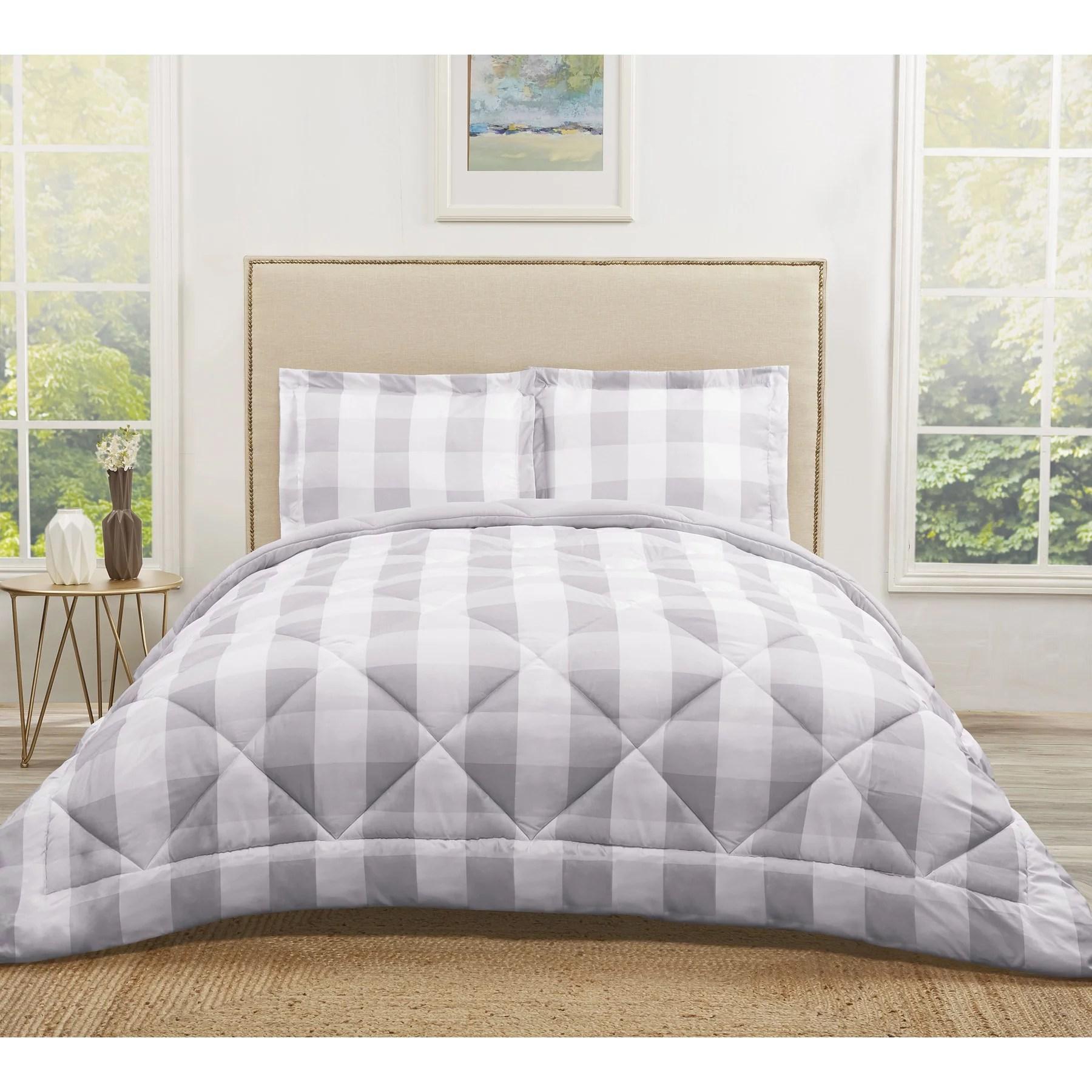 truly soft everyday buffalo plaid grey twin xl comforter set walmart com