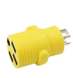 ac works rvl14201450 ev rv generator adapter nema l14 20p 20amp 4 prong generator locking plug to rv ev rande nema 14 50r 50amp 125 250volt female  [ 3760 x 3456 Pixel ]
