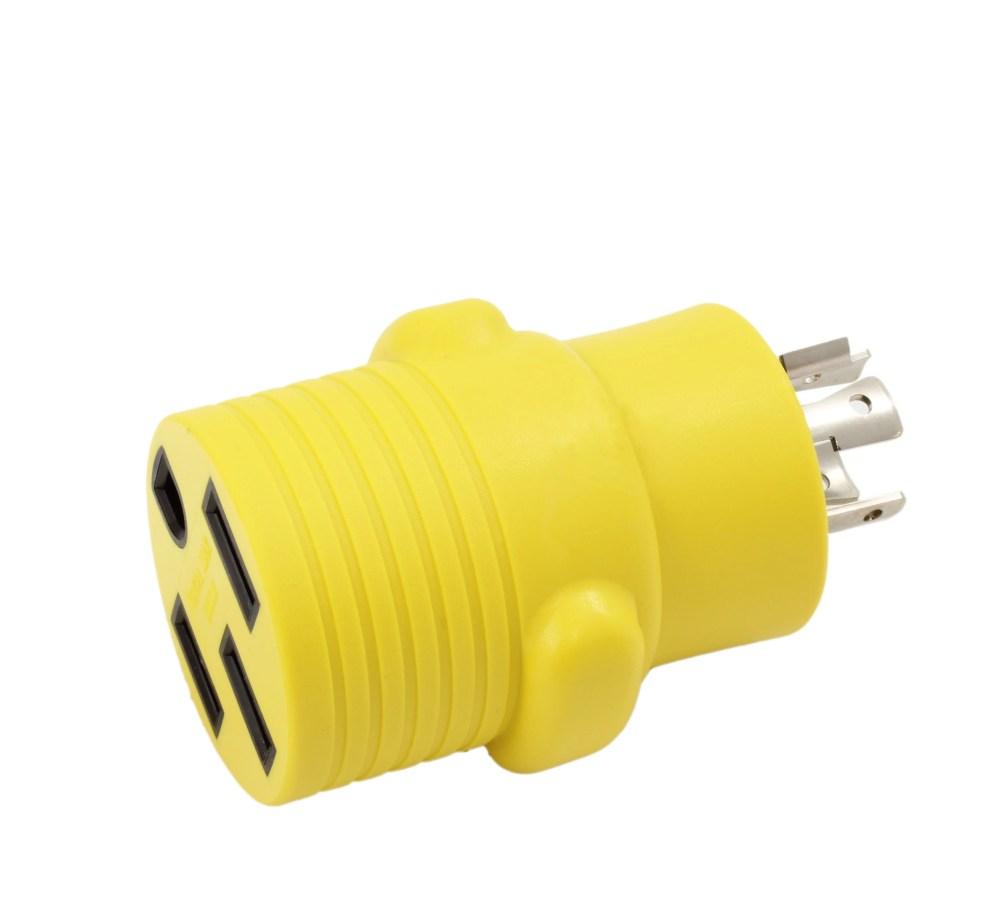medium resolution of ac works rvl14201450 ev rv generator adapter nema l14 20p 20amp 4 prong generator locking plug to rv ev rande nema 14 50r 50amp 125 250volt female