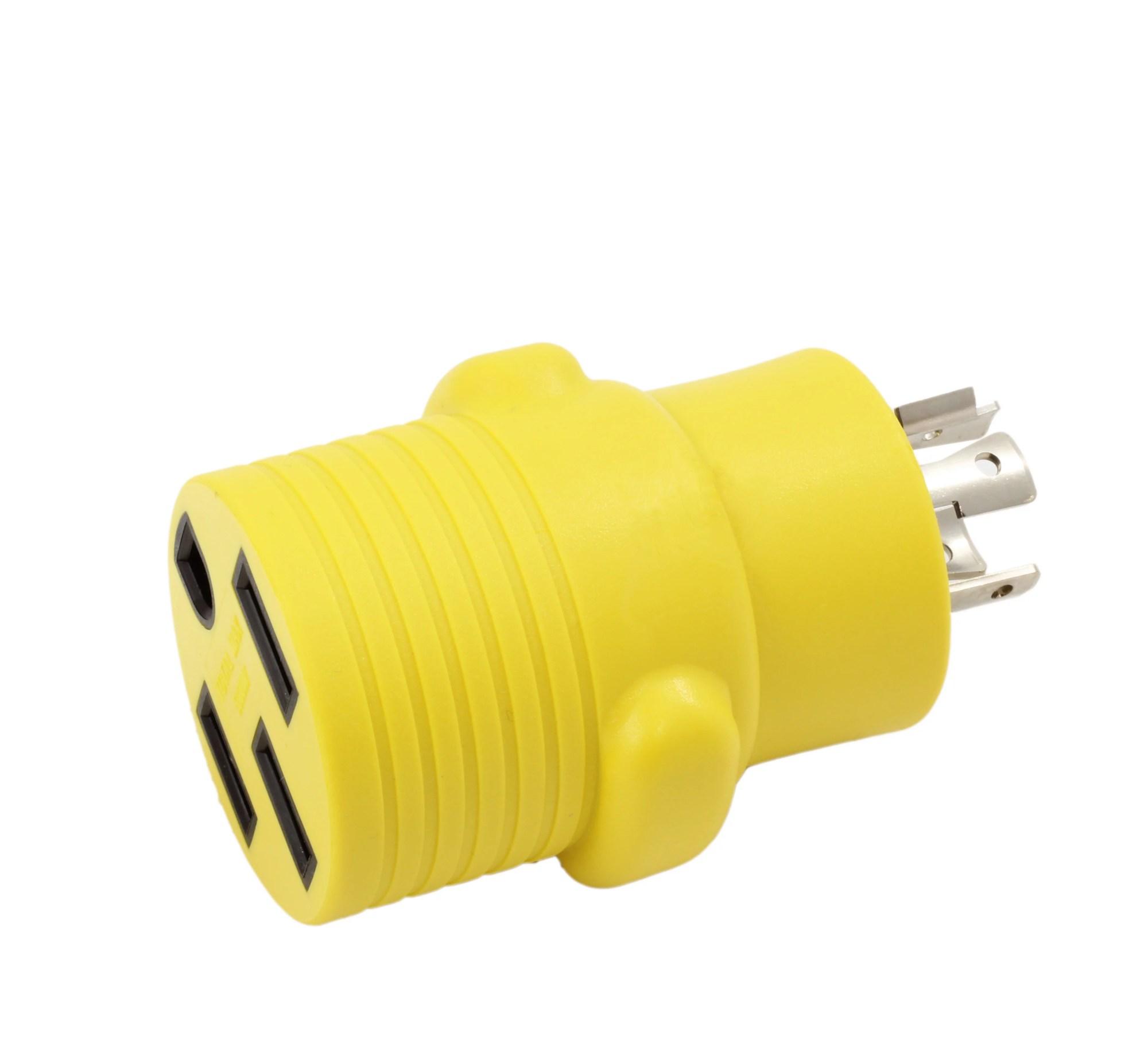 hight resolution of ac works rvl14201450 ev rv generator adapter nema l14 20p 20amp 4 prong generator locking plug to rv ev rande nema 14 50r 50amp 125 250volt female