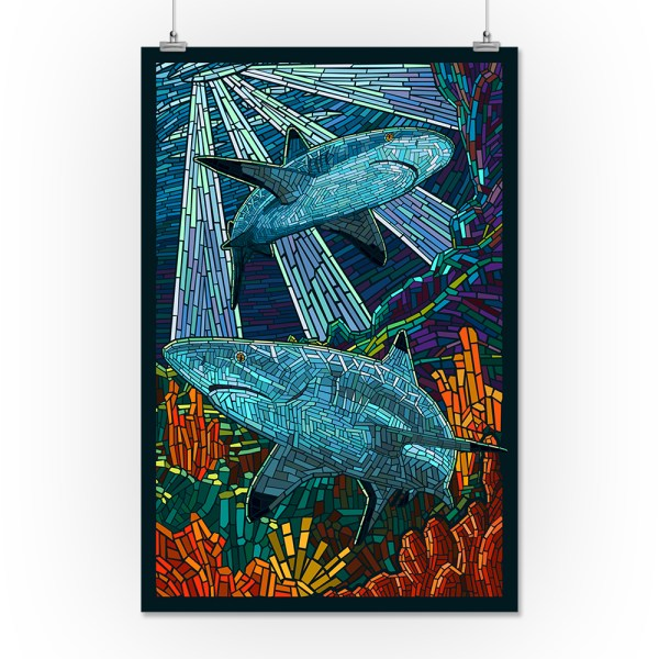 Black Tip Reef Shark - Paper Mosaic Lantern Press Poster 16x24 Giclee Print Wall