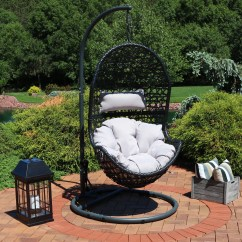 Egg Chair Swing With Stand Recliner Covers In Australia Sunnydaze Cordelia Hanging Steel Set Resin Wicker Large Basket Design Indoor Or Outdoor Use Includes Beige Cushion And