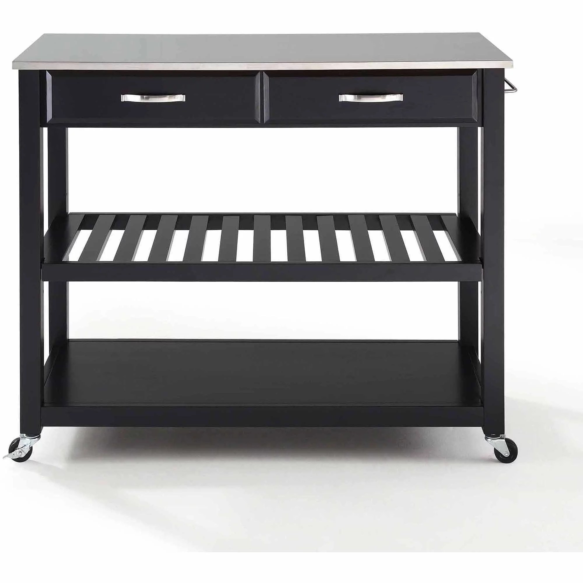stainless steel kitchen cart backsplash tile crosley furniture top with optional stool storage walmart com