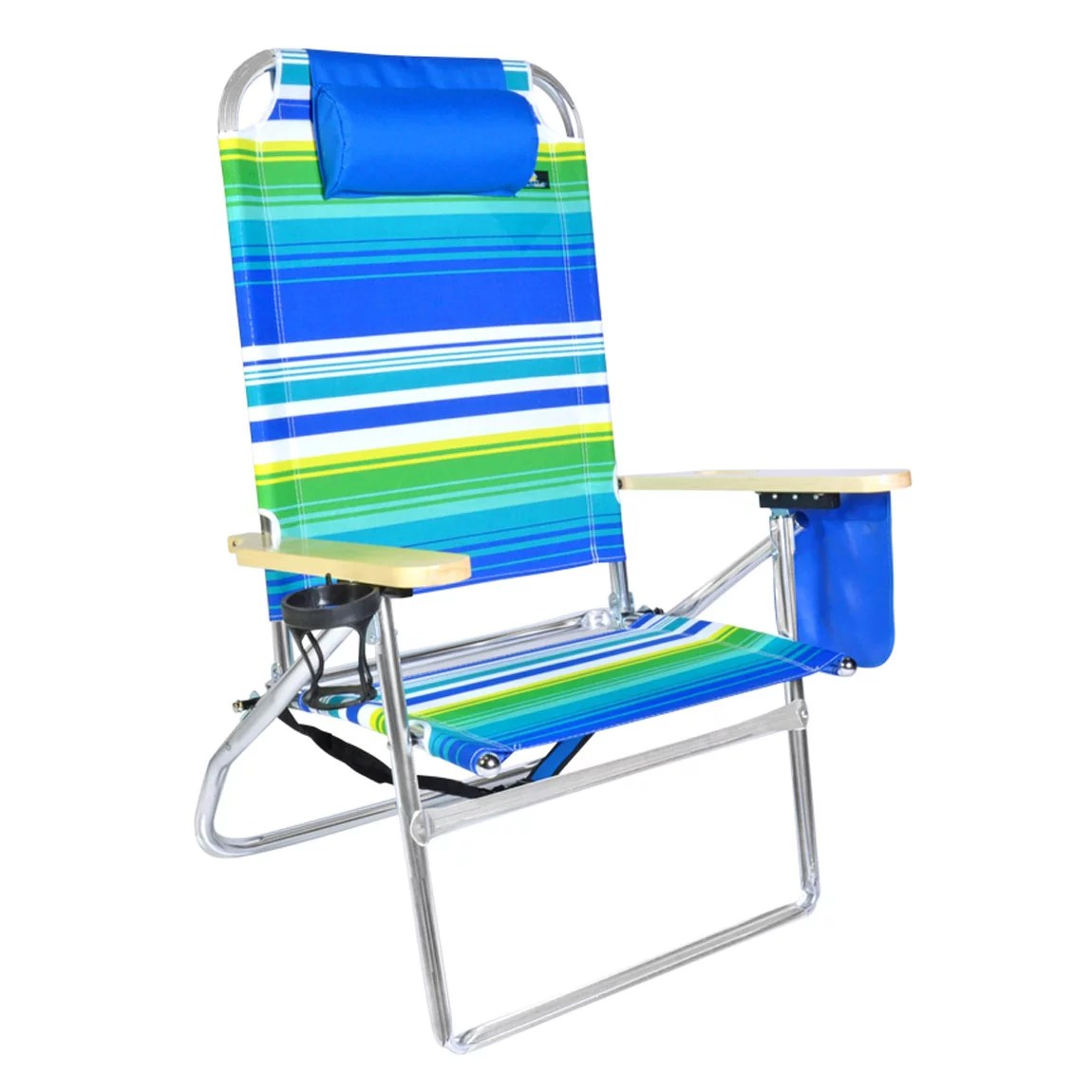 Beach Chair With Cup Holder Extra Large High Seat 3 Position Heavy Duty Beach Chair