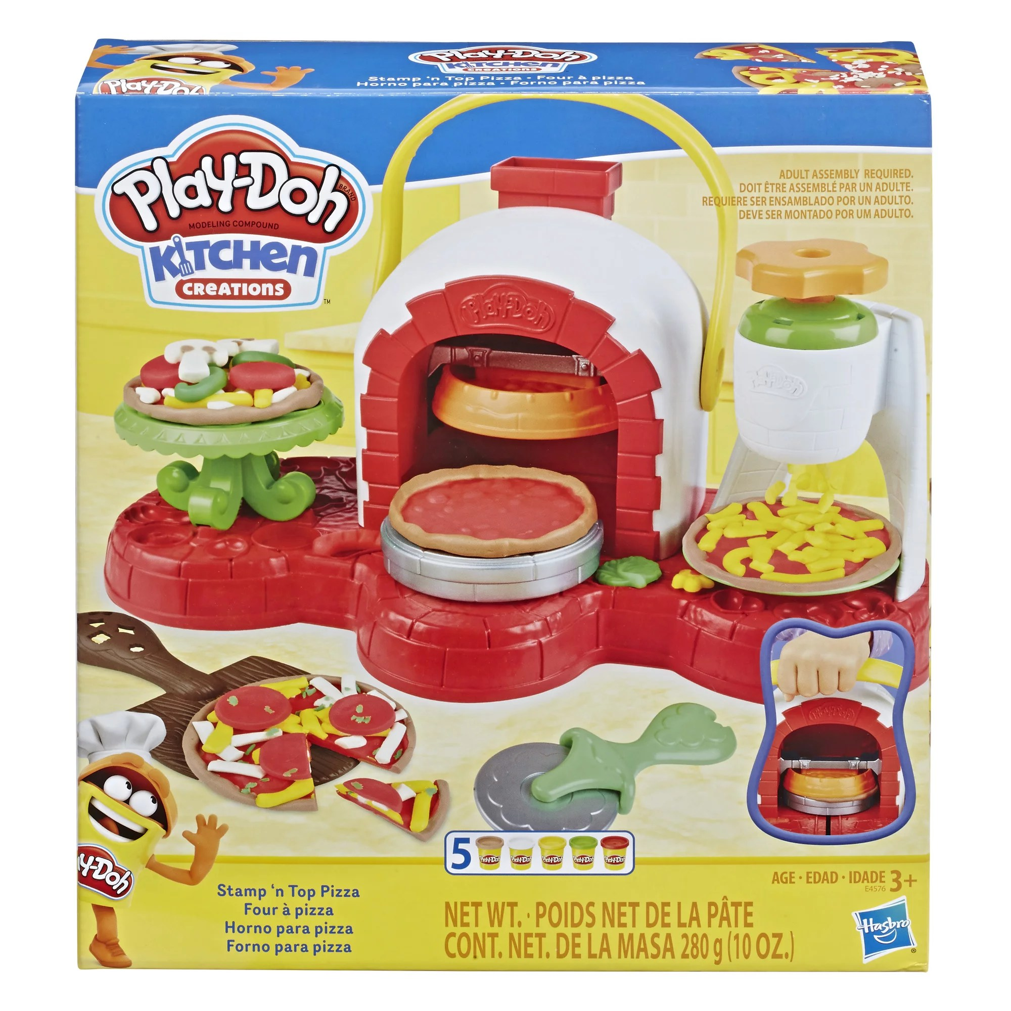 Play Doh Stamp N Top Pizza Oven Toy With 5 Non Toxic Play Doh Colors Walmart Com