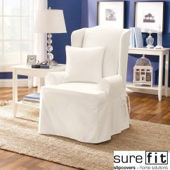 Living Room Chair Slipcovers Retro Curtains Sure Fit Twill Supreme Wing Slipcover Walmart Com