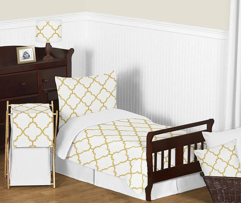modern white and gold trellis lattice girls toddler bedding 5 piece set walmart com