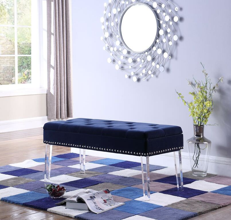 18 Quot In Navy Blue Tufted Mid Century Storage Bench Nailhead