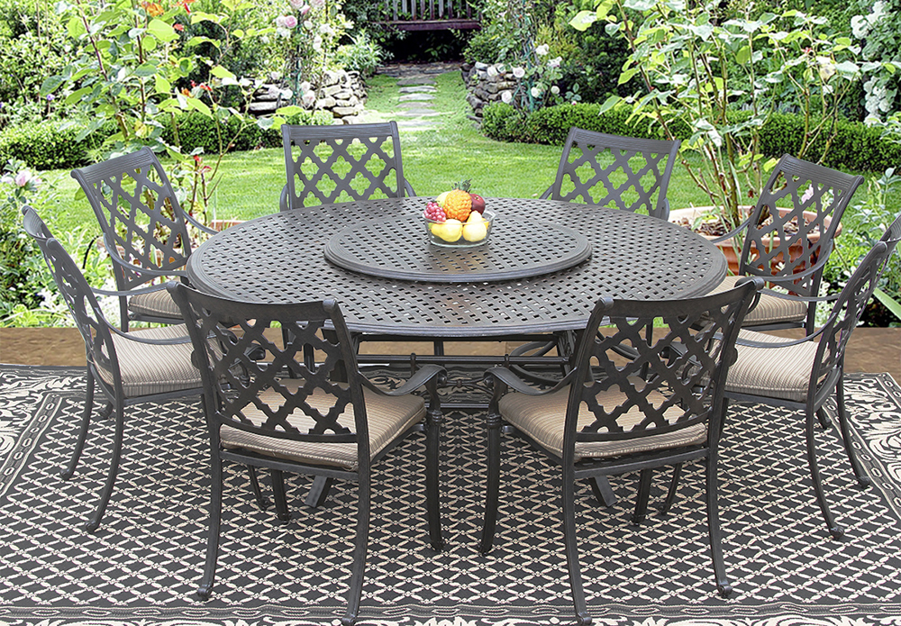 outdoor patio 9pc set 8 chairs 71 inch round table 35 lazy susan