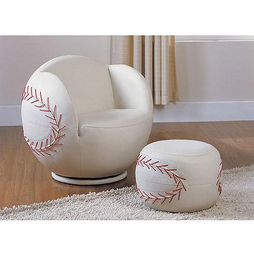 Acme All Star Baseball 2Piece Chair and Ottoman Set